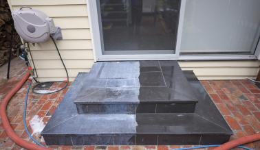 Bluestone tile pressure cleaning job in Hawthorn